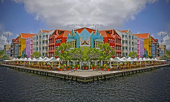 The waterfront at Willemstad, Curacao, (with mirror effect), #0200