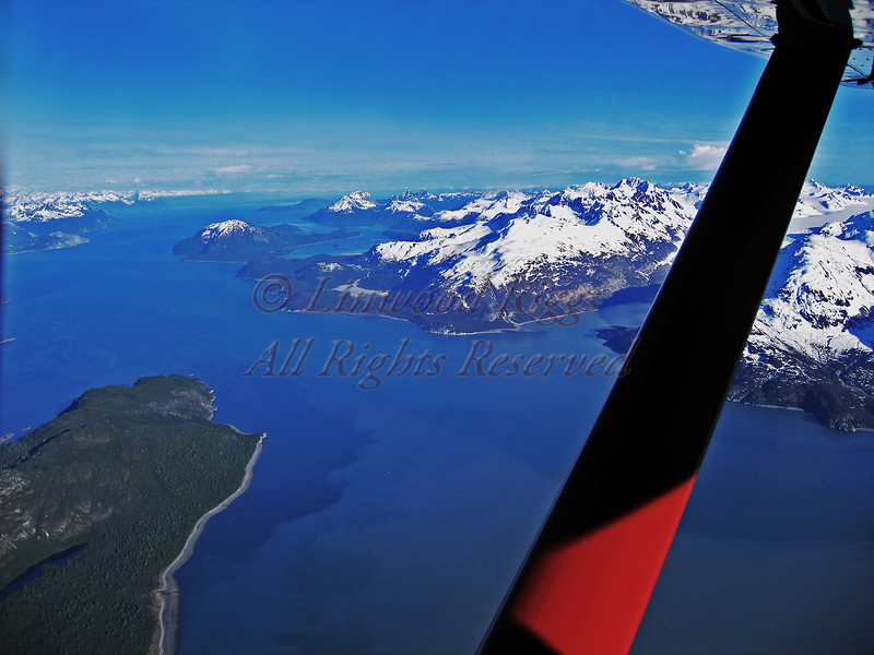 View from a single engine aircraft flying over Glacier Bay National Park, Alaska.