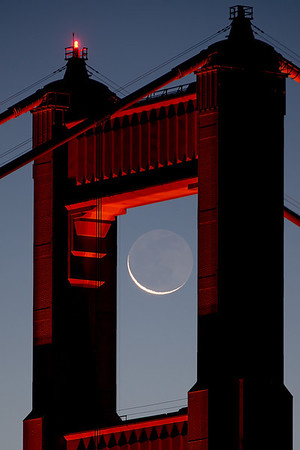 Crescent Moon Through the Gate