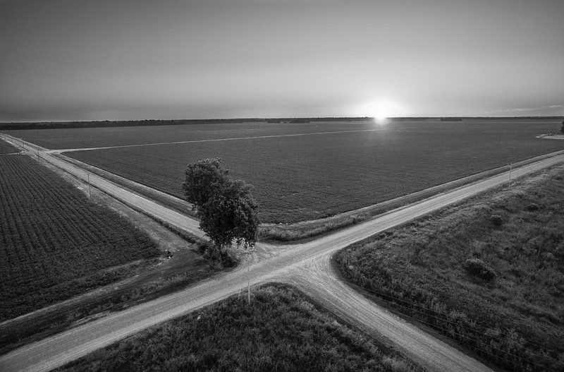 Crossroad Sunrise (BW)