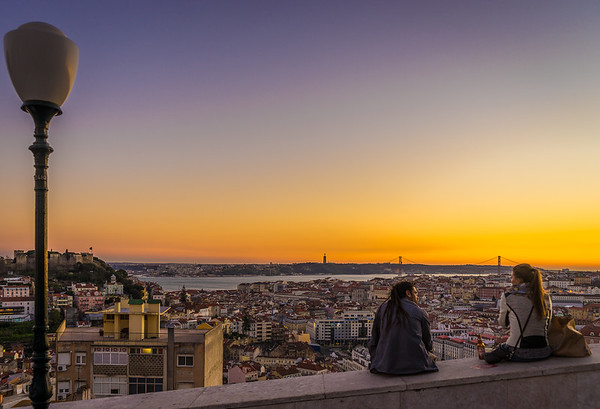 Enjoying The Lisbon Viewpoint at Sunset Photography By Messagez com