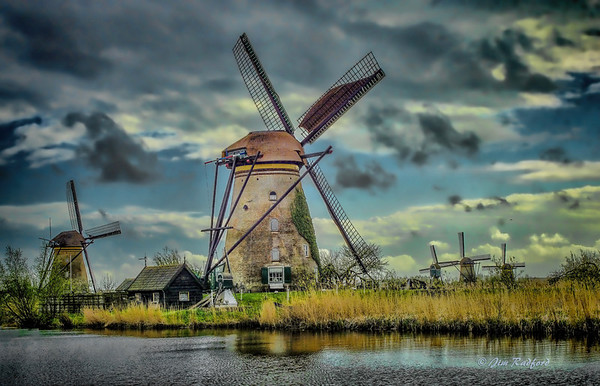 Spring clouds bring a chill to Kinderdijk in Holland, #1372