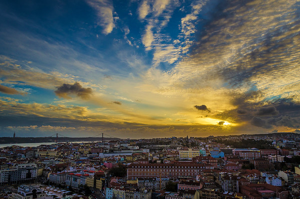 Peculiar Sunset Sky in Lisbon Portugal Photography By Messagez com