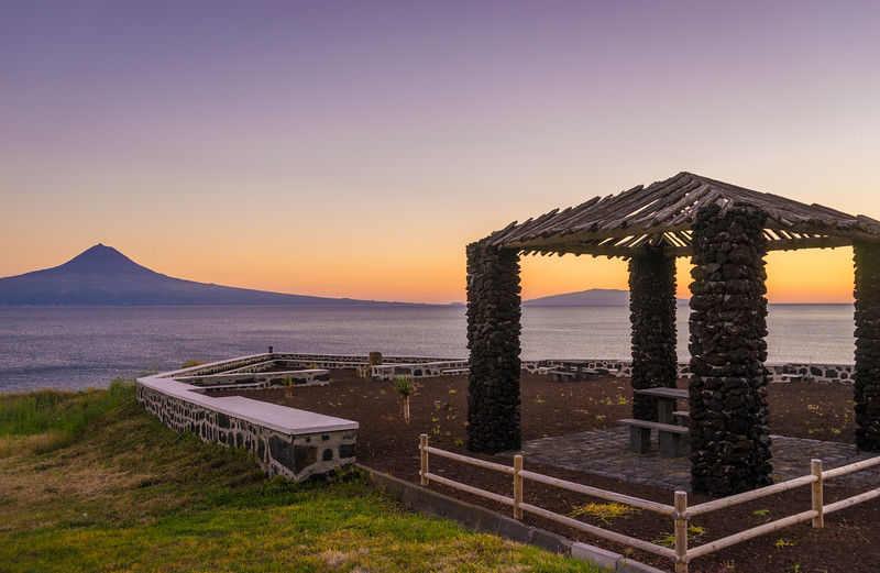 Relaxing at Sunset Looking at Pico Island Mountain in Azores Photography By Messagez com