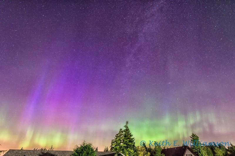 Northern Lights and Milky Way, over Camano Island