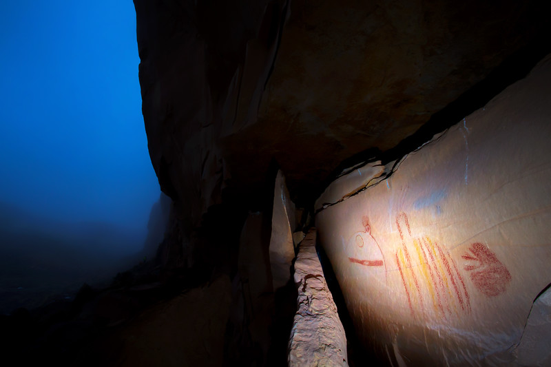 Summer storm with shield figures, Fremont pictographs, Utah