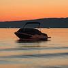 Boat at sunrise, Traverse City, MI