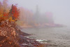 Fog rolls in, pushing fall colors out, at Lutsen Resort shoreline, #0477