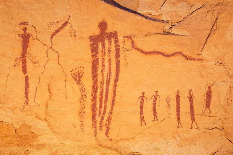 Barrier Canyon Style pictographs, Desert Archaic, San Rafael Swell, Emery County, Utah