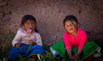 Isla de Taquile  Children at Lake Titicaca