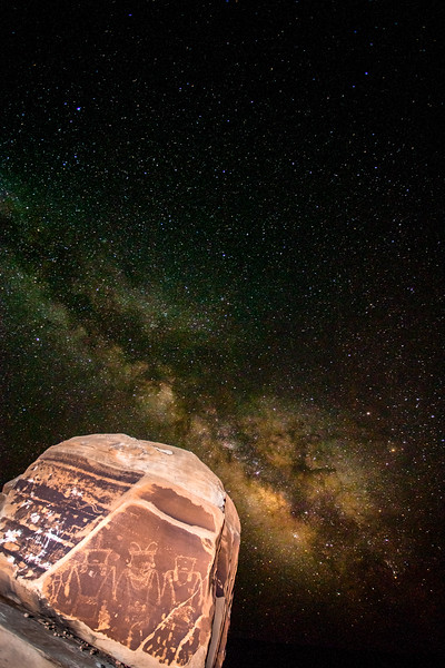Fremont petroglyphs and the Milky Way, Utah