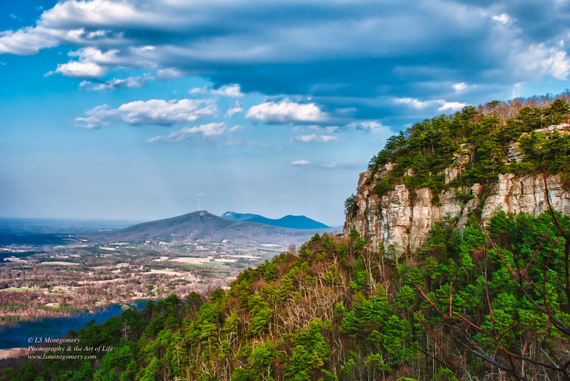 Pilot Mountain, NC, with a View of Sauratown Mountains in the Background