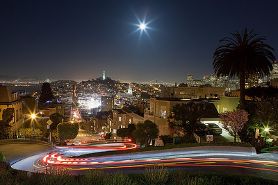 "After Trying for some full moon / coit tower shots, we stuck around and played with tail-light trails on the ""Curviest Street in San Francisco"" (which in truth isn't!)"
