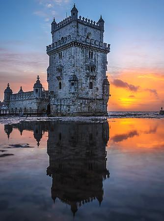 Lisbon Tower Perfect Reflection