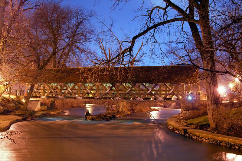 Naperville Riverwalk bridge at night