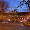 Naperville Riverwalk bridge at night
