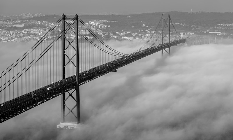 Original Lisbon 25th of April Bridge Landscape Photography BW By Messagez com