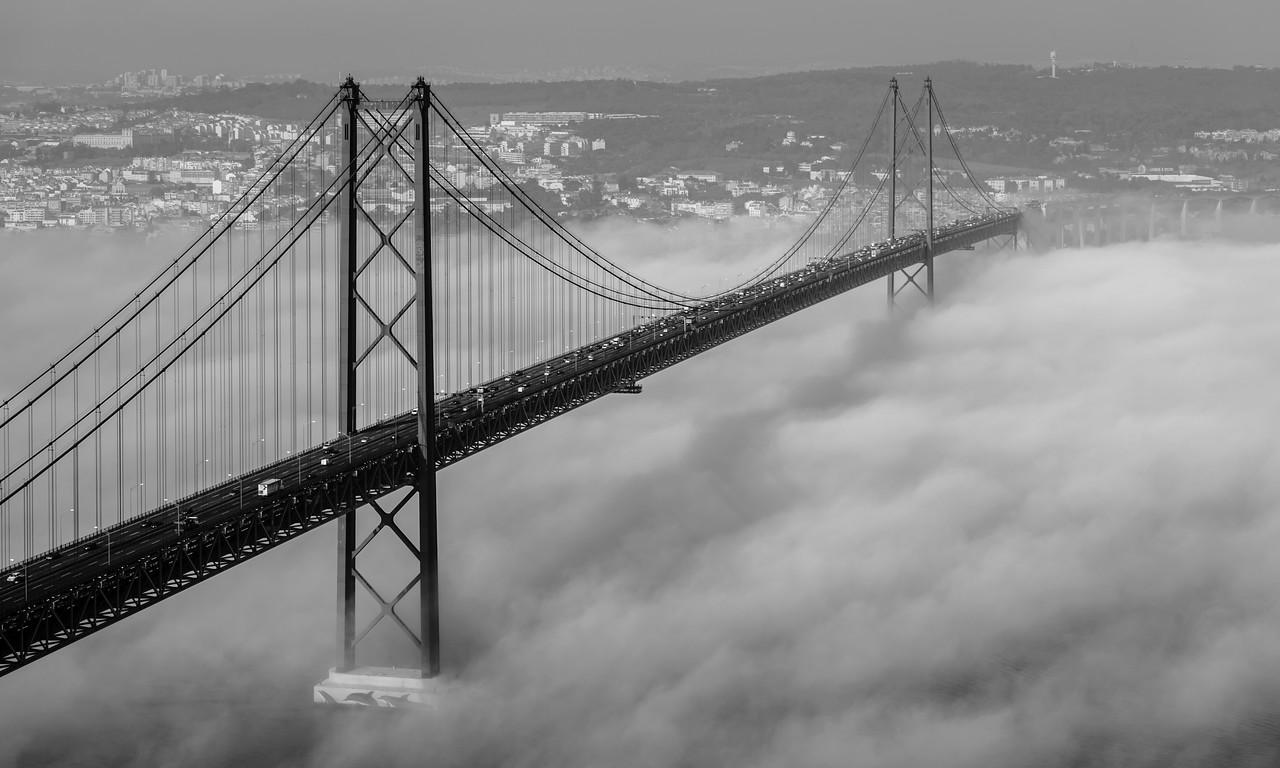 Original Lisbon 25th of April Bridge Landscape Photography BW By Messagez com