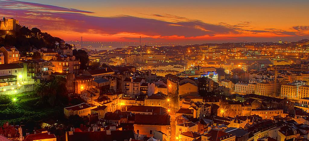 Lisbon Sunset Viewpoint Wallpaper