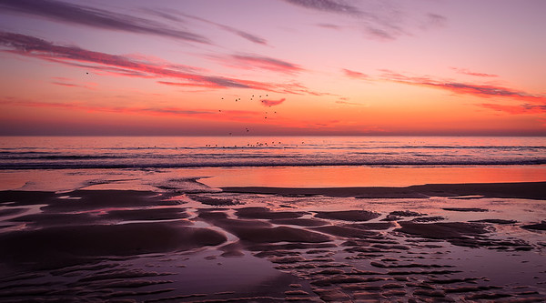 Amazing Colorful Sunset in Lisbon Beach