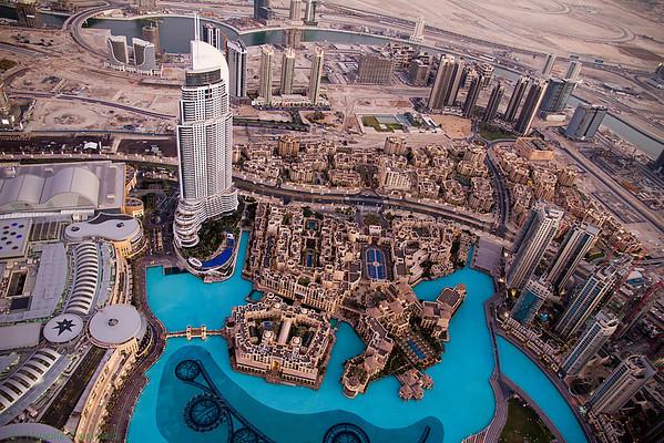 View from the top of Burj Khalifa - Dubai Mall, The Address Hotel, The Palace Hotel, Souk Al Bahar