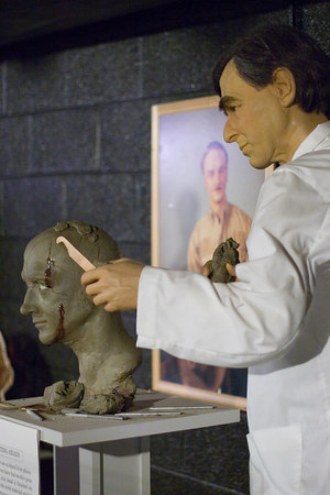 A wax dummy of an uncredited Michael Dukakis is used for an exhibit on how dummies' faces are molded at the Natural Bridge Wax Museum and Factory, Virginia.