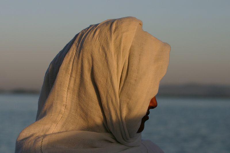 Taxi boat passenger, Lake Tana, Ethiopia