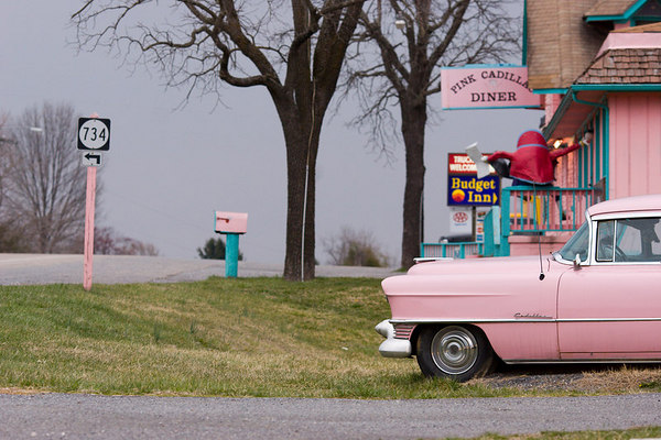 Pink Cadillac diner under overcast skies, Virginia route 11