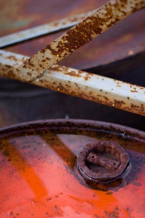 close-up of rusty oil drums near the head of the Chessie Trail, Old Buena Vista Road, Lexington VA.