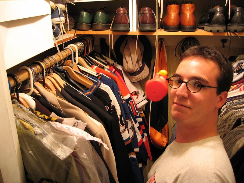 "<a href=""http://www.thetrivium.net"" target=""blank"">Mike</a> and his ice hockey jersey collection, College Park, Maryland"