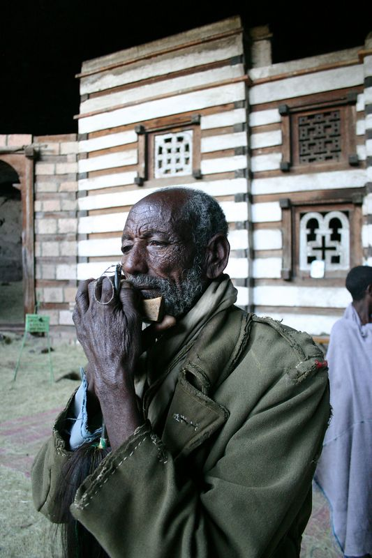 Pilgrim at Yemrehanna Kristos church, near Lalibela, Ethiopia
