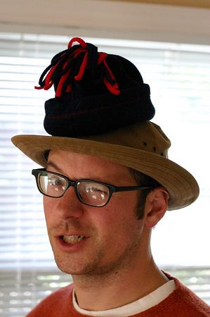 Mark D wearing two hats (his and Oscar's), Durham, North Carolina