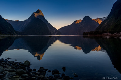 Early morning light at Milford sound.  We were sooo lucky to have such perfect weather.