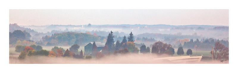 "Beauty Beneath Morning's Veil<br /> Pilkington Overlook, Inverhaugh, ON<br /> 48"" x 12"" Canvas - $1000"