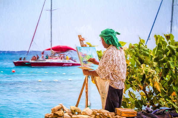 Painter at Work, Holetown Beach, Barbados