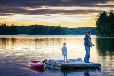 Fishing from the Floating Dock, Eagle Lake, Machar Township, Ontario
