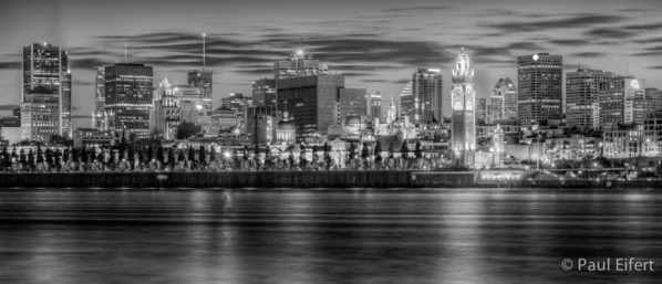 Montreal Twilight Cityscape - Sharp Monochrome
