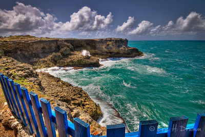 Blue Fence and Pounding Surf, North Point, St. Lucy, Barbados