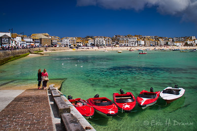 Red Boats, St. Ives Harbour, Cornwall, England