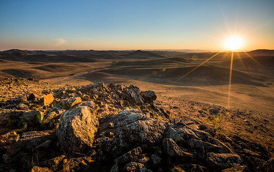 Filming at sunset amidst the rolling golden hills of the Mongolian steppe. #BBCEarth #EarthOnLocation #Mongolia #Landscape #Sunset #Vista Altanbulag