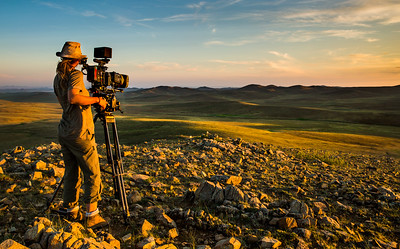 Camerawoman Sue Gibson @smgibbo filming in the #Mongolian steppe for #BBCEarth - #Filming #Sunset #Cinematography