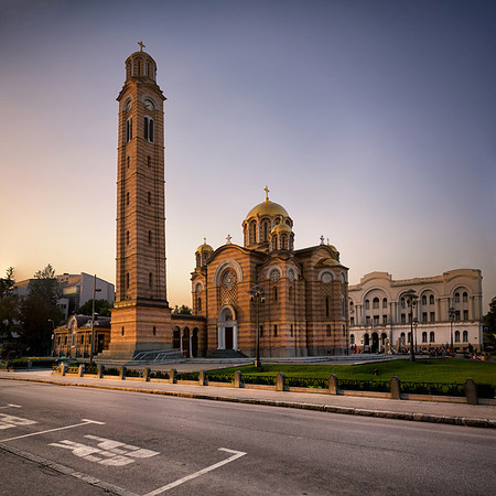 'Cathedral of Christ the Saviour' in Banja Luka. This was taken at dusk as a vertorama (vertical panorama) in three frames, later merged and the perspective corrected in Photoshop CS6.