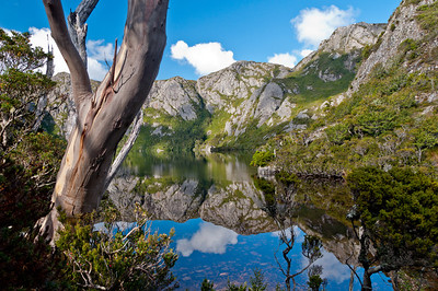 Reflections on Crater Lake, on the Overland Track heading towards Marion's Lookout, Cradle Mountain, Tasmania