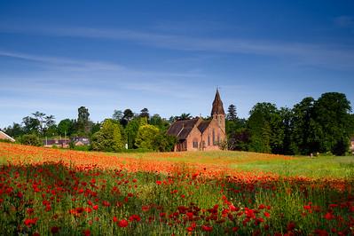 Wribbenhall Church and Poppy Field