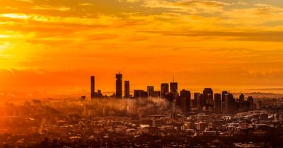 Brisbane City Sunrise from Mt. Coot-tha