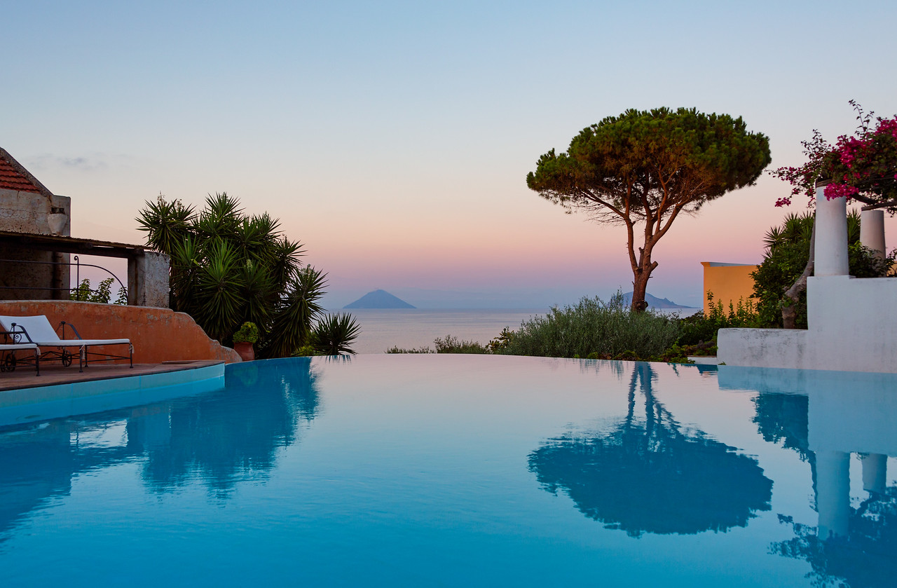 Infinity pool with a view across to Stromboli