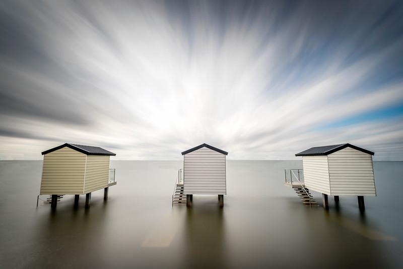 Trio of huts, colour