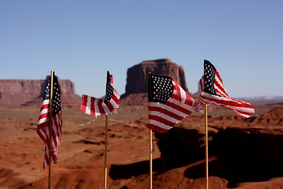 Flags fly high over Monument Vally, USA
