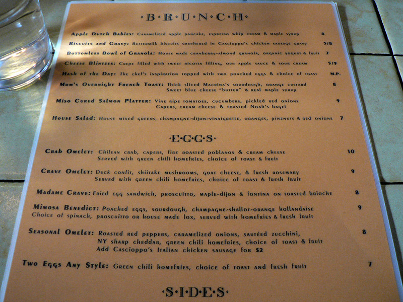 Crave Brunch Menu