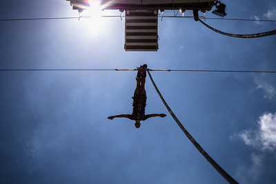 Henrique Ferreira jumps at the AJ Hackett Macau Tower bungy activity at the Macau Tower.